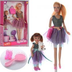 Кукла 29см DEFA (дочь 13см, сумка, расческа, туфли, мишка) 8304