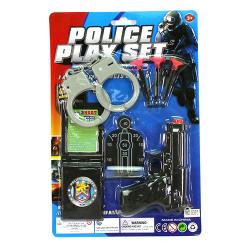 Набор полицейского (пистолет 11,5см, присоски 3шт., Наручкы, мишень) 8065