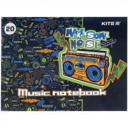 Тетрадь для нот 20 листов А5 Make some noise Kite K21-405