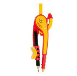 Циркуль ZiBi пластиковый со шкалой красно-оранжевый в блистере, ZB.5396-05