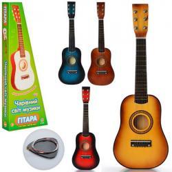 Гитара деревянная 59-21-7 см., Струны 6 шт., Запасная струна, медиатор, M 1369