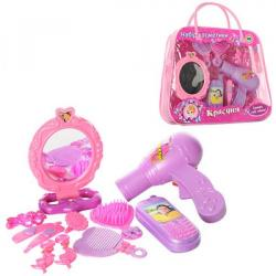 Набор парикмахера (фен, зеркало, гребицець, телефон, в сумке 28-24-7 см.), A299