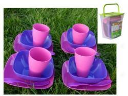 Набор посуды Подарочный, темно-розовый - темно-сиреневый