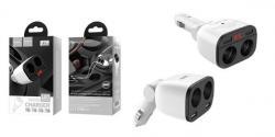Авторозгалужувач Hoco Z28 на 2 гнезда + 2USB 3.1A, LED, White