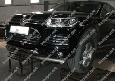 Фото Защита переднего бампера Volkswagen Touareg двойной ус