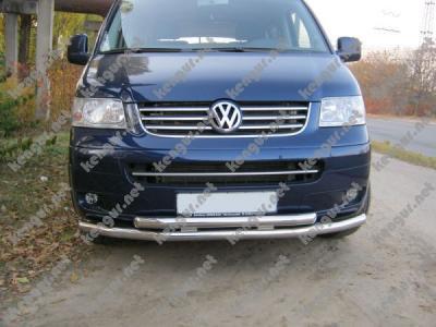 Фото Защитная дуга по бамперу Volkswagen T5 двойной ус