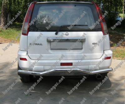 Фото Защита заднего бампера  Nissan X-Trail изогнутый ус B-033