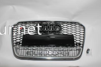 Фото Решетка радиатора Audi A6 2012-2015, стиль RS6 (черная с хромированной окантовкой и надписью Quattro)