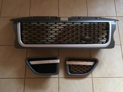 Фото Решетка радиатора и жабры Range Rover Sport (2005-2009) Серая, чёрная сетка