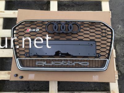 Фото Решетка радиатора A6 стиль RS6 хром окантовка черная решетка QUATTRO 2014-