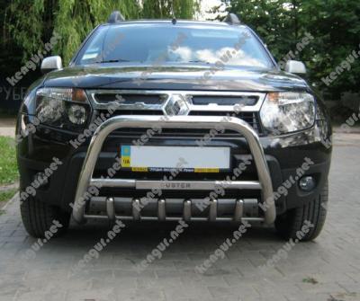Фото Защита передняя, кенгурятник Renault Duster с грилем и с надписью