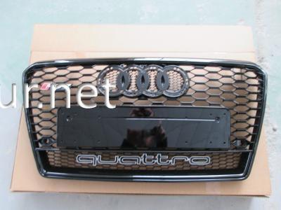 Фото Решетка радиатора Audi A7 2012-2015, стиль RS7 (черная с надписью Quattro)
