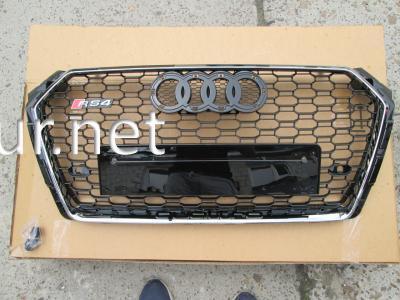 Фото Решетка радиатора Audi A4 стиль RS4 2016+ хром окантовка-черная сетка без лого
