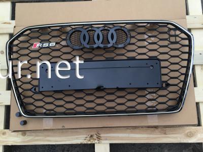 Фото Решетка радиатора Audi A6 2016-2017, стиль RS6 (черная с хромированной окантовкой)