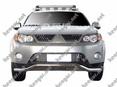 Фото Защитная дуга по бамперу Mitsubishi Outlander XL  изогнутый ус с пластиной