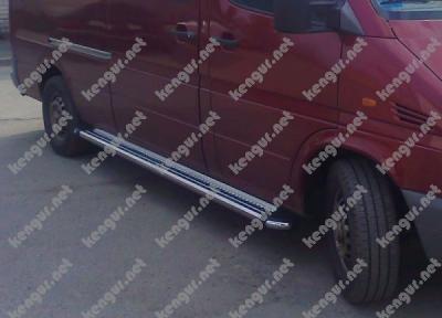 Фото Пороги боковые Mercedes Sprinter (труба с листом) средняя база