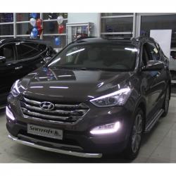 Защитная дуга по бамперу (одинарная) Hyundai Santa Fe 2013-...