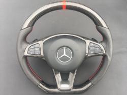 Руль карбоновый AMG Mercedes Benz CLA Class Красная нитка C117