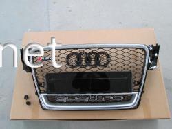 Решетка радиатора Audi A4 стиль RS4 2008-2011 хром окантовка черная решетка QUATTRO