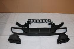 Диффузор заднего бампера Mercedes C-class W205 стиль AMG C63 black tips