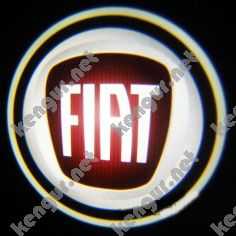 Лазерная подсветка дверей с логотипом на Fiat Doblo (красный логотип)