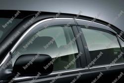 Дефлекторы дверей, ветровики Toyota Camry с хромовой окантовкой
