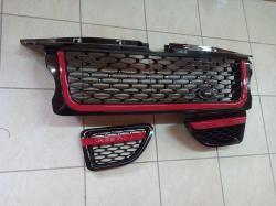 Решетка радиатора и жабры Range Rover Sport (2005-2009) Чёрная, красная окантовка