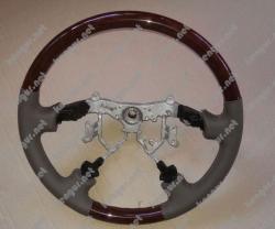 Руль Toyota Prado120 (серая кожа + темное дерево)