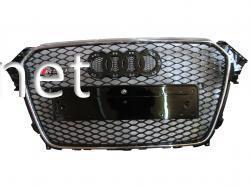 Решетка радиатора Audi A4 стиль RS4 хром окантовка черная сетка 2012-