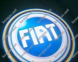 Лазерная подсветка дверей с логотипом на Fiat Doblo (синий логотип)