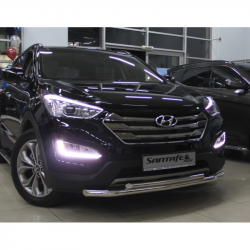 Защитная дуга по бамперу Hyundai Santa Fe (2013-...) двойная