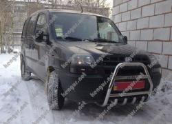 Защита передняя, кенгурятник Fiat Doblo с грилем и с надписью