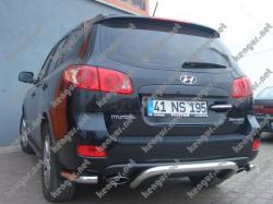 Защитная дуга заднего бампера Hyundai Santa Fe с уголками