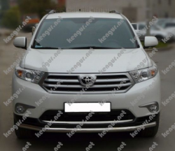 Акция!!! Защита переднего бампера Toyota Highlander (одинарный ус)