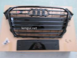 Решетка радиатора Audi A4 2012-2015, стиль S4 (черная)