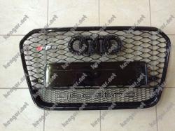 Решетка радиатора Audi A6 2012-2015, стиль RS6 (черная с надписью Quattro)
