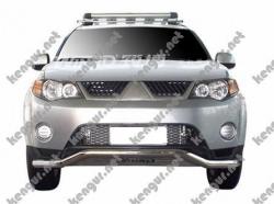 Защитная дуга по бамперу Mitsubishi Outlander XL  изогнутый ус с пластиной