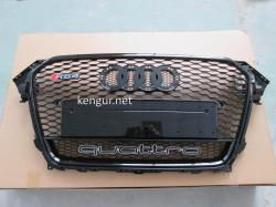 Решетка радиатора Audi A4 2012-2015, стиль RS4 (черная с надписью Quattro)
