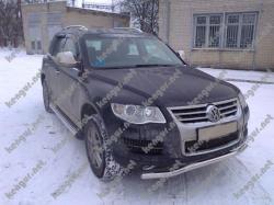 Защита переднего бампера Volkswagen Touareg (2007 -...) изогнутый ус
