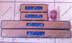 Хром накладки на пороги с подсветкой FORD KUGA