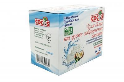 Фото Бесфосфатный порошок для белых и сильнозагрязненных тканей из омыленного кокосового масла 1,2 кг