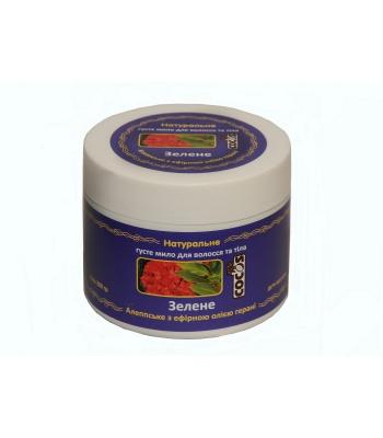 Фото Натуральное густое мыло для волос и тела Зеленое 300 гр