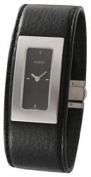 Женские часы Gucci 7800SR-07835-steel-black-dial-black-leather