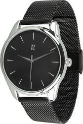 Женские часы ZIZ Белым по черному (ремешок из нержавеющей стали черный)
