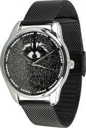 Женские часы ZIZ Енот (ремешок из нержавеющей стали черный)