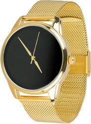 Женские часы ZIZ Минимализм черный (ремешок из нержавеющей стали золото)