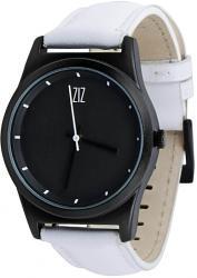 Мужские, Женские часы ZIZ 6 секунд Black (белый кожаный ремешок)