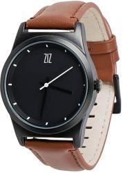 Мужские, Женские часы ZIZ 6 секунд Black (коричневый кожаный ремешок)