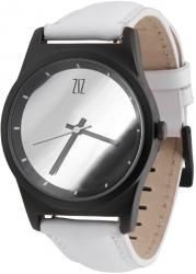 Мужские, Женские часы ZIZ 6 секунд Mirror (белый кожаный ремешок)