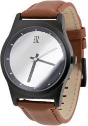 Мужские, Женские часы ZIZ 6 секунд Mirror (коричневый кожаный ремешок)